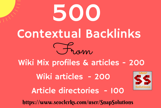 200 Wiki Mix profiles & articles,  200 Wiki articles, 100 Article directories Contextual Backlinks