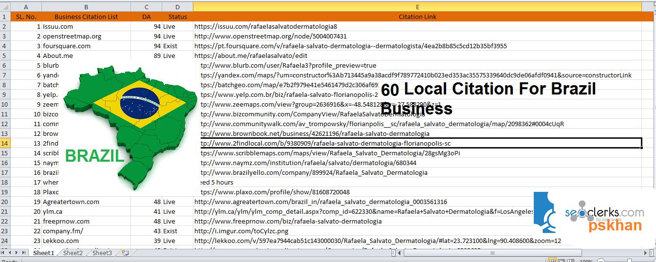 Create Brazil 60 Local SEO Citation For Brazil Business