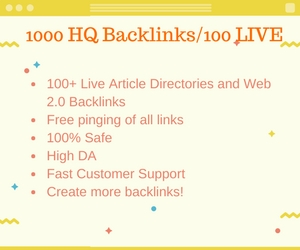 1000 high quality backlinks to your website to rank high in Google