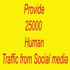 Provide 25000 Human Traffic from Social media