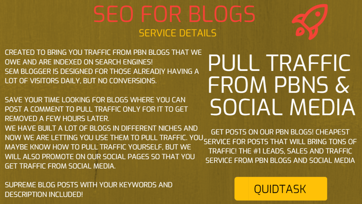 SEO AND TRAFFIC FOR BLOGS - Pull traffic and score HIGH SERP with our PBN Backlinks and Social Signals