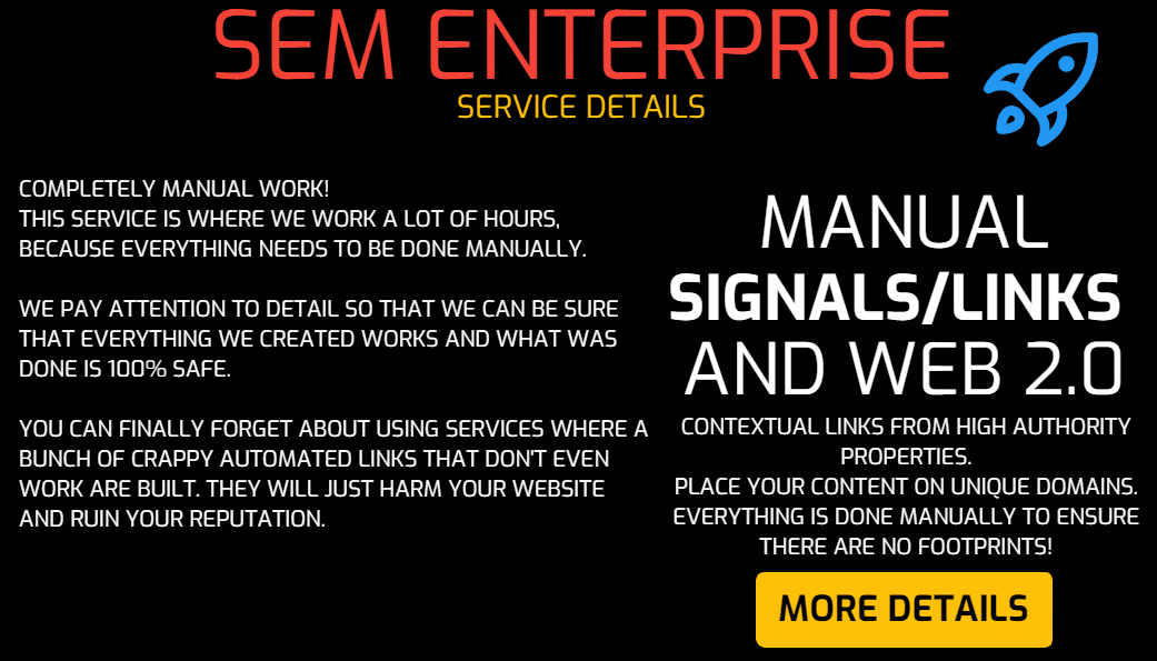 SEM Enterprise - White Hat WEB 2.0 Blogs Creation, WEB 2.0 Backlinks and Social Signals