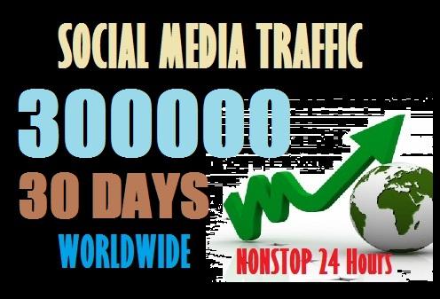 300000 Web Traffic Worldwide from Social Media sites