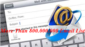 We will provide More Than 800 M Email Database For You As Low As