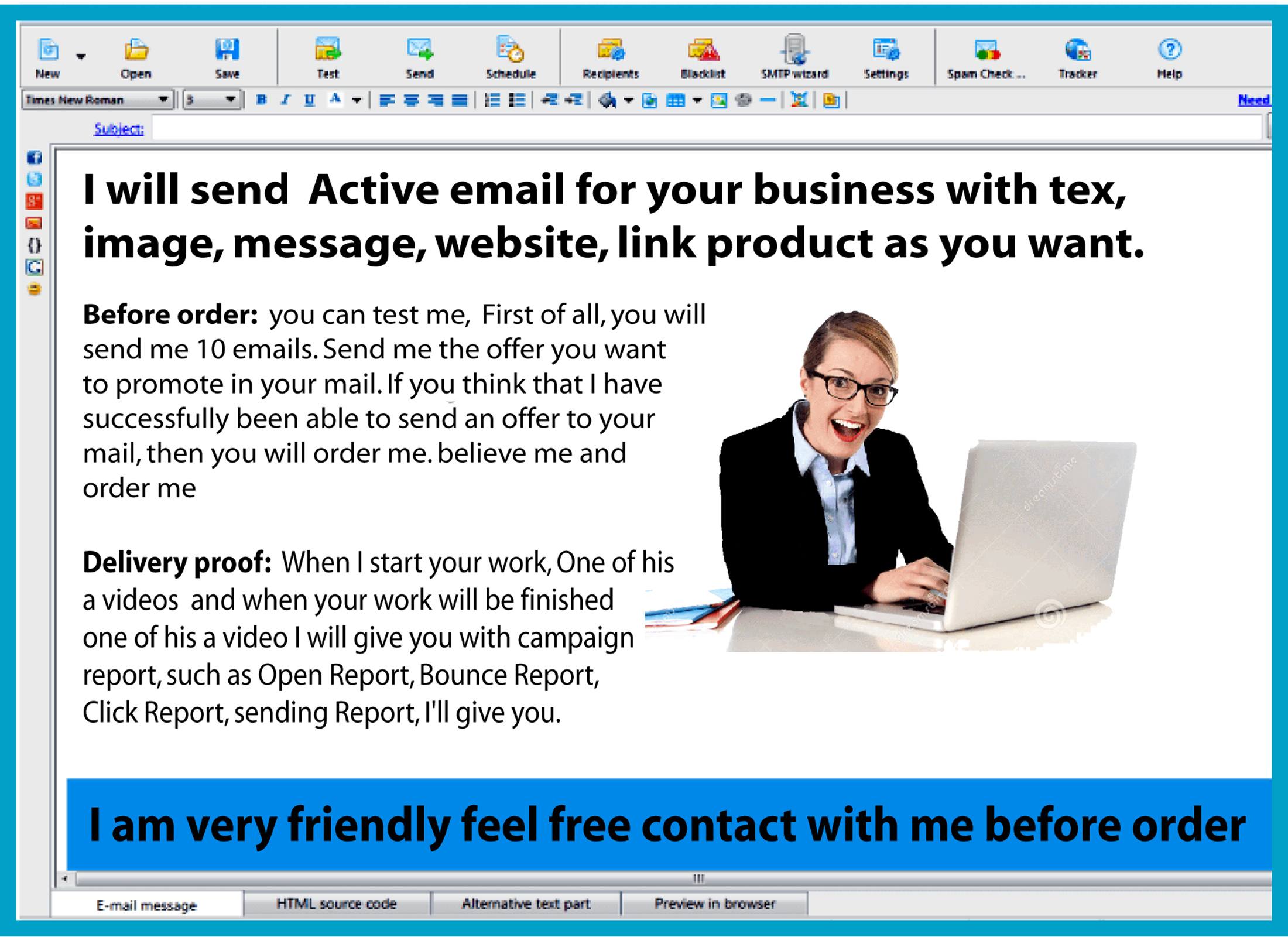 send 50,000 e-mail for your Business with tex, image...
