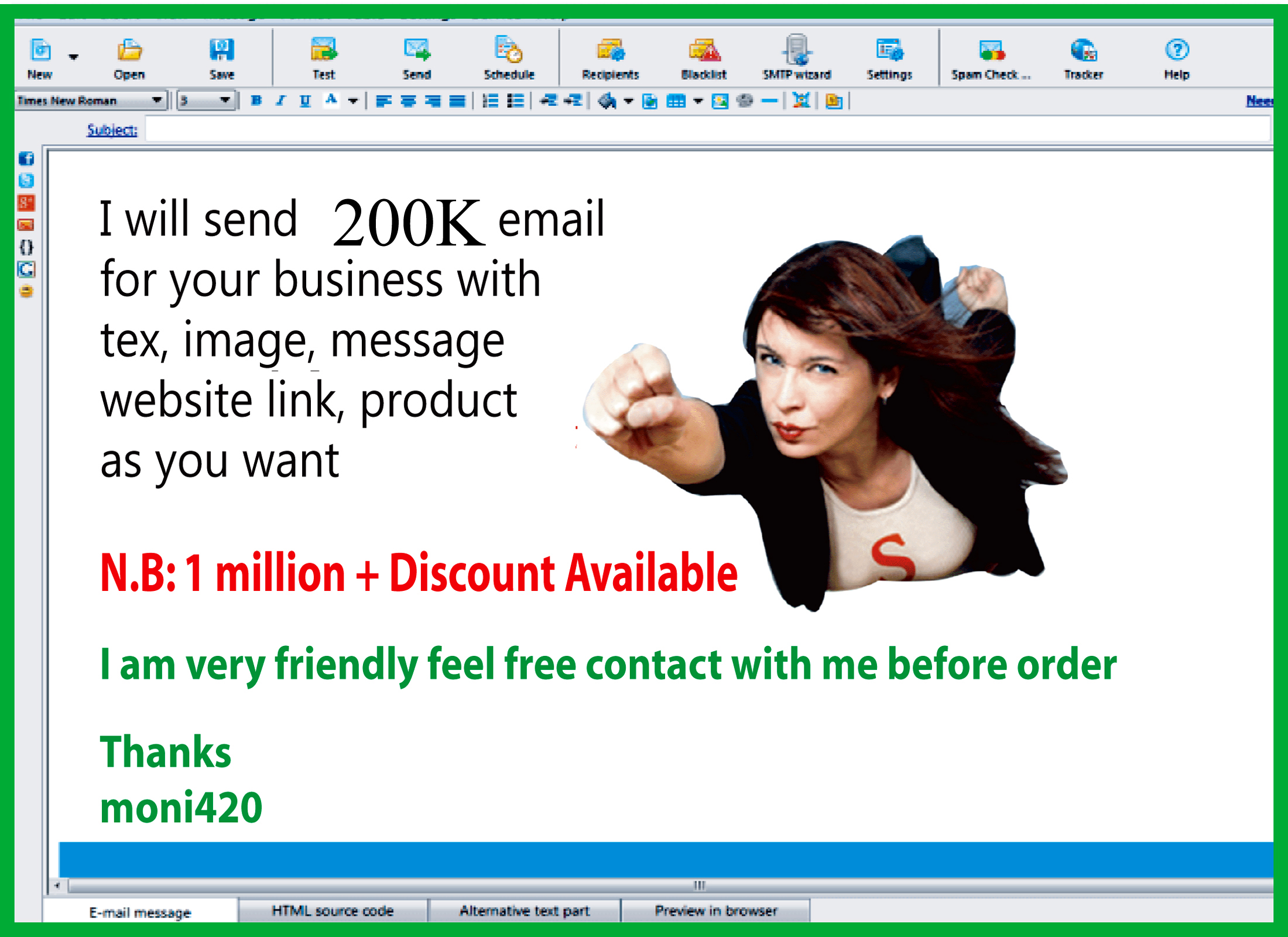 send 200K e-mail for your Business with tex,  image,  website link,  product,  affiliate.