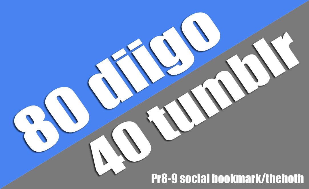 80+40 diigo+tumblr Social Bookmark with Provide Backlnik