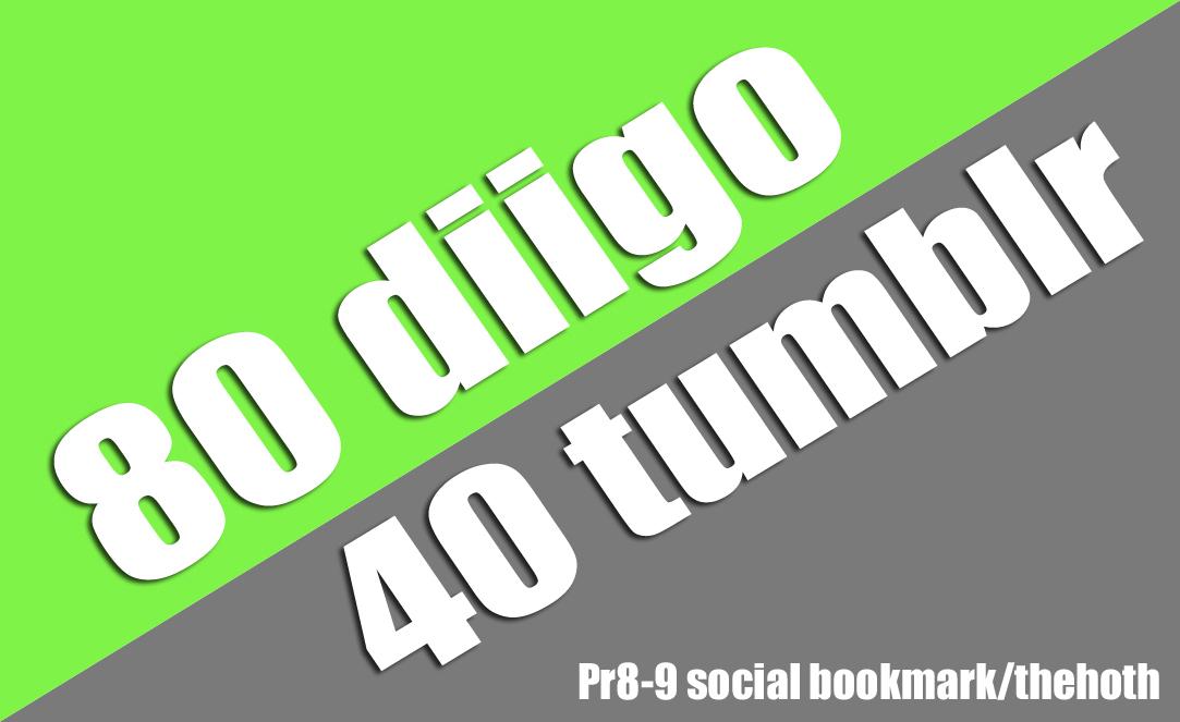 80+40 diigo+tumblr Social Bookmark with Provide Backlnik