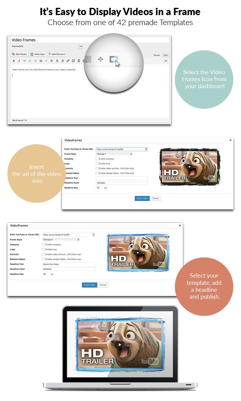 Video Frames WP Plugin - 40+ Skins