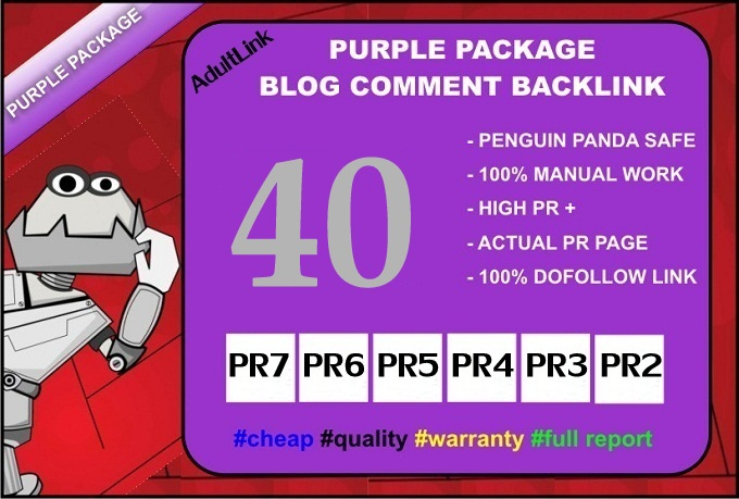 I Will Do 40 PR 2 to 7 Back Links from Blog Comment