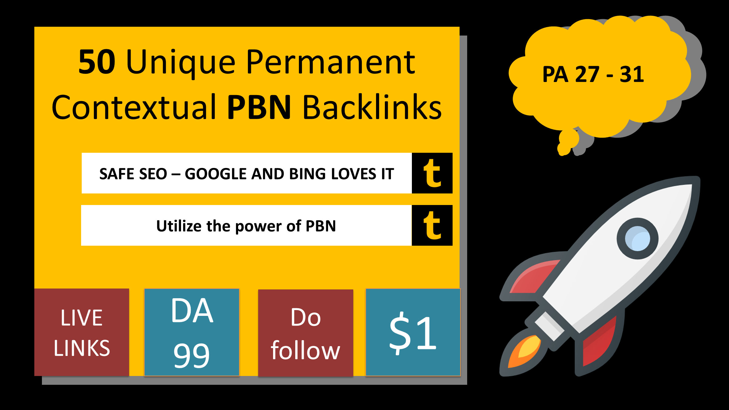 Built 50 Unique Permanent Contextual Backlinks on Tumblr Page authority 27 to 31