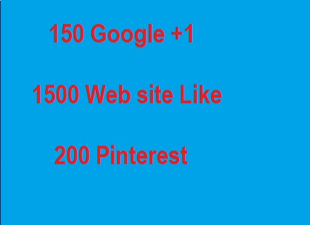 150 Google plus share signals  1500 Web Like  500 pinterest top pack for only  $1