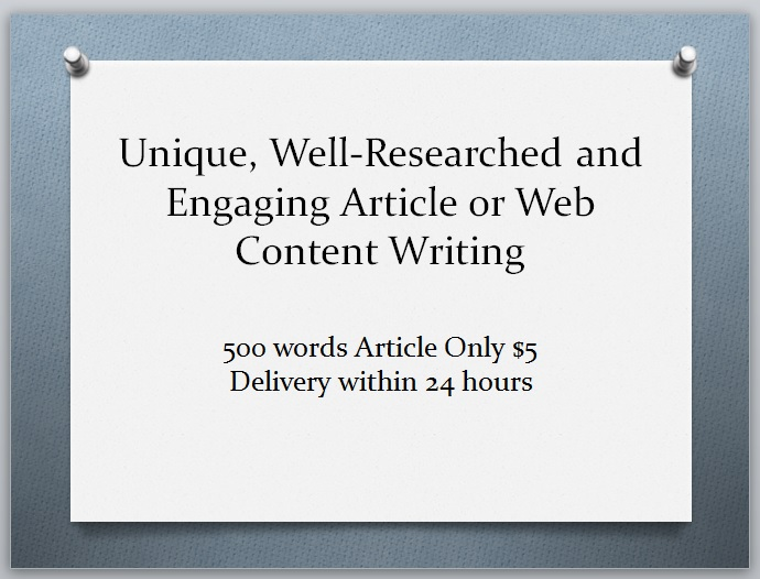 I will write unique, well-researched and engaging web content or article