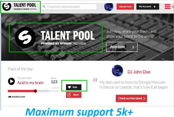 Get You 100 Spinnin records talent pool votes on your contest song