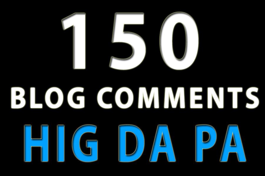 150 blog comments high da pa