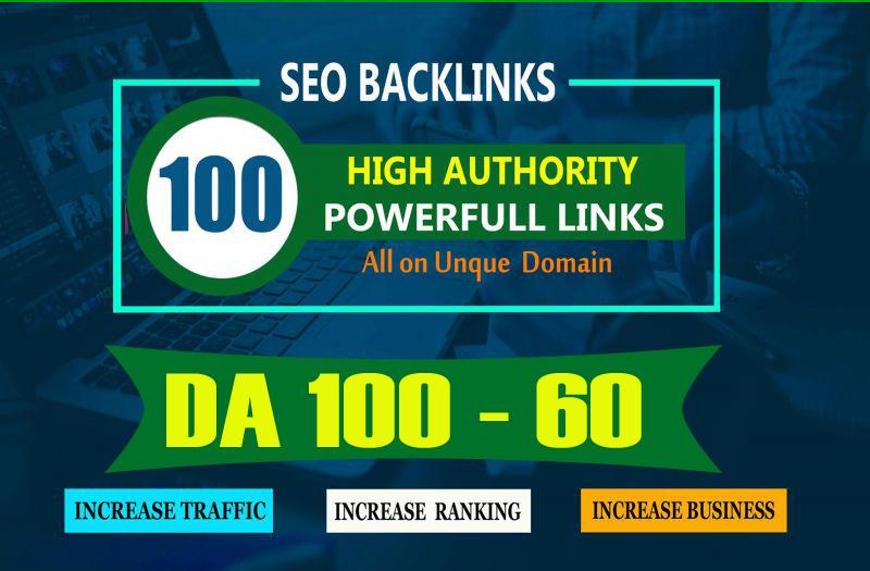 Build 100 Unique Domain SEO Backlinks On High DA Sites