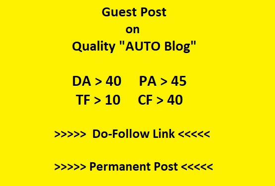 Guest Post on DA 40 Plus Auto blog (Writing + Posting)