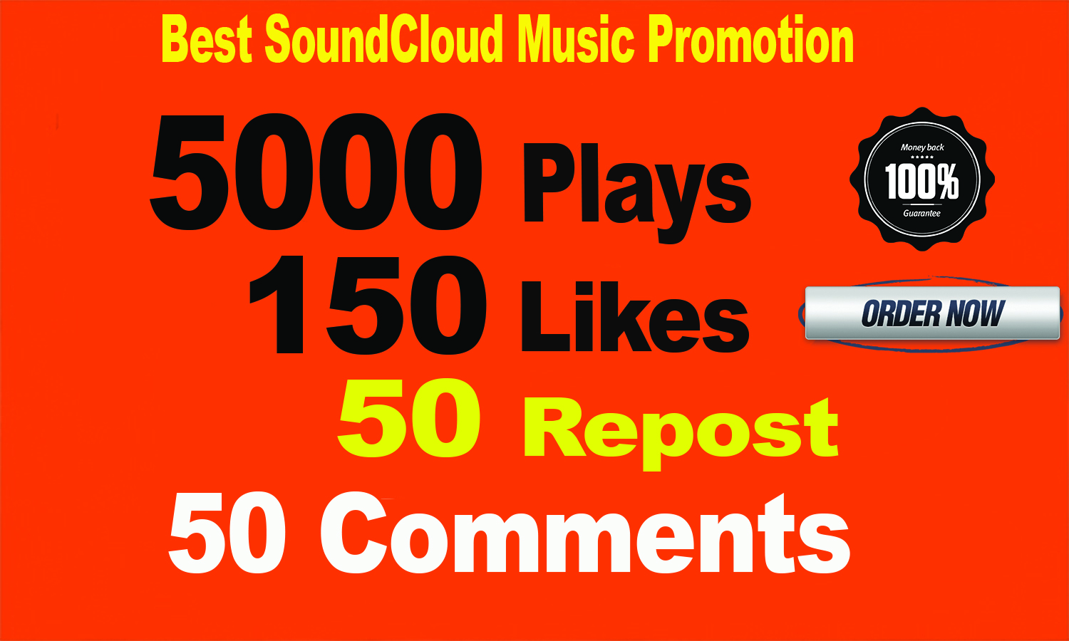 5000 SoundCloud Plays 150 Likes 50 repost 50 comments