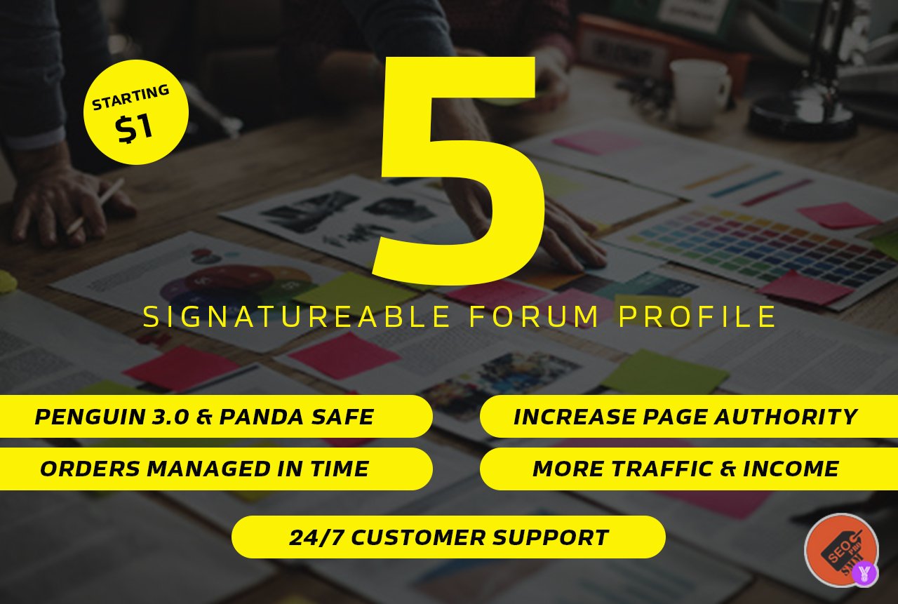 5 Signatureable forum profile backlinks