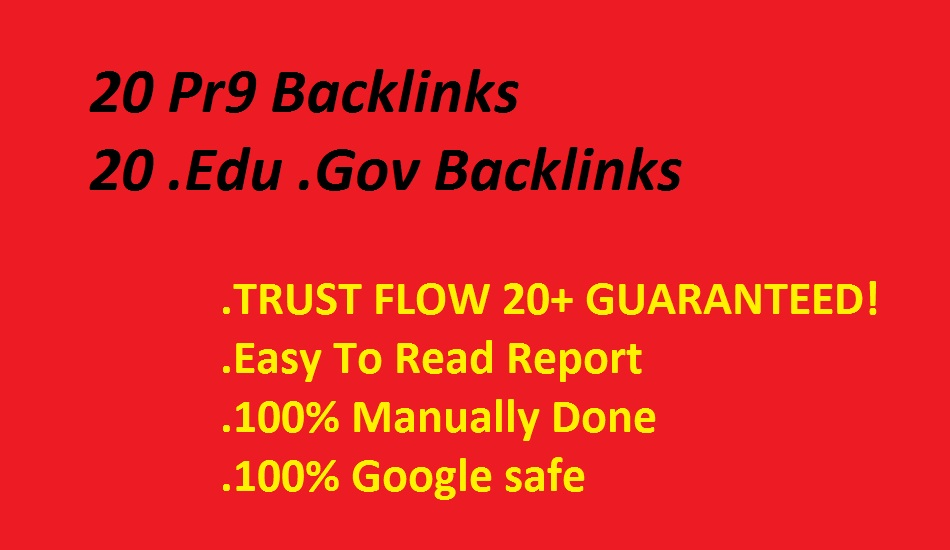 create your website 20 Pr9 backlinks and 20 edu gov backlinks
