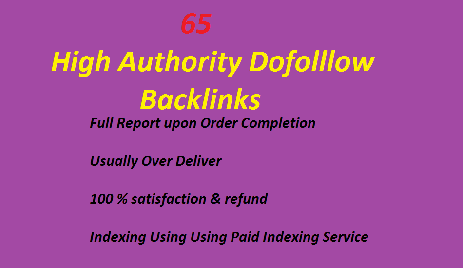 manually create 65 High Authority Dofolllow Backlinks