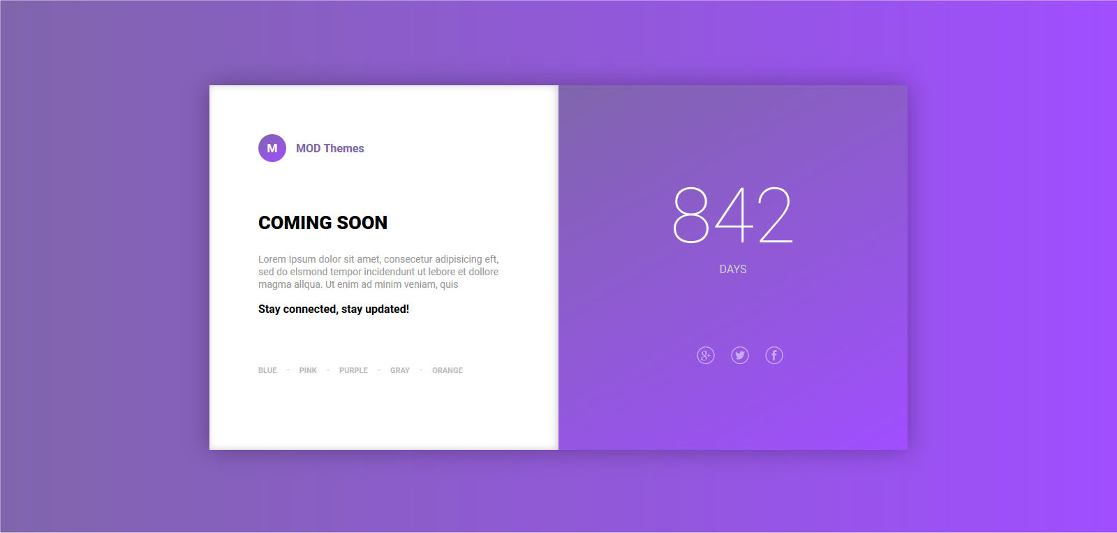 Coming Soon landing page with variations