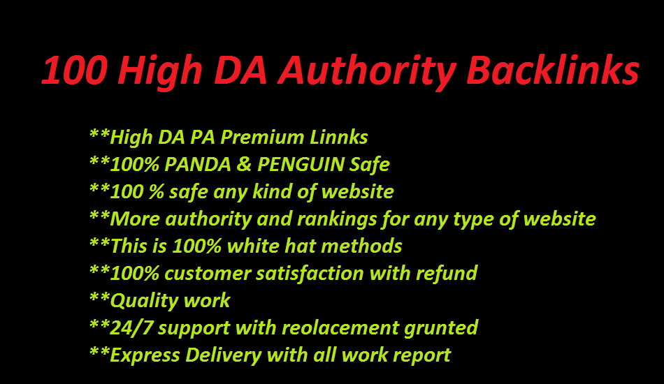 boost in your rankings with 100 High quality Authority backlinks