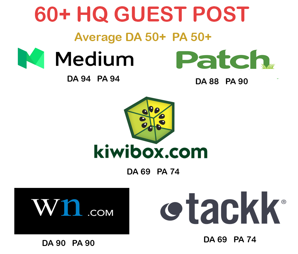60+ HQ Guest Post Service (Medium DA94,  Patch DA88, Wn.com DA90) and More