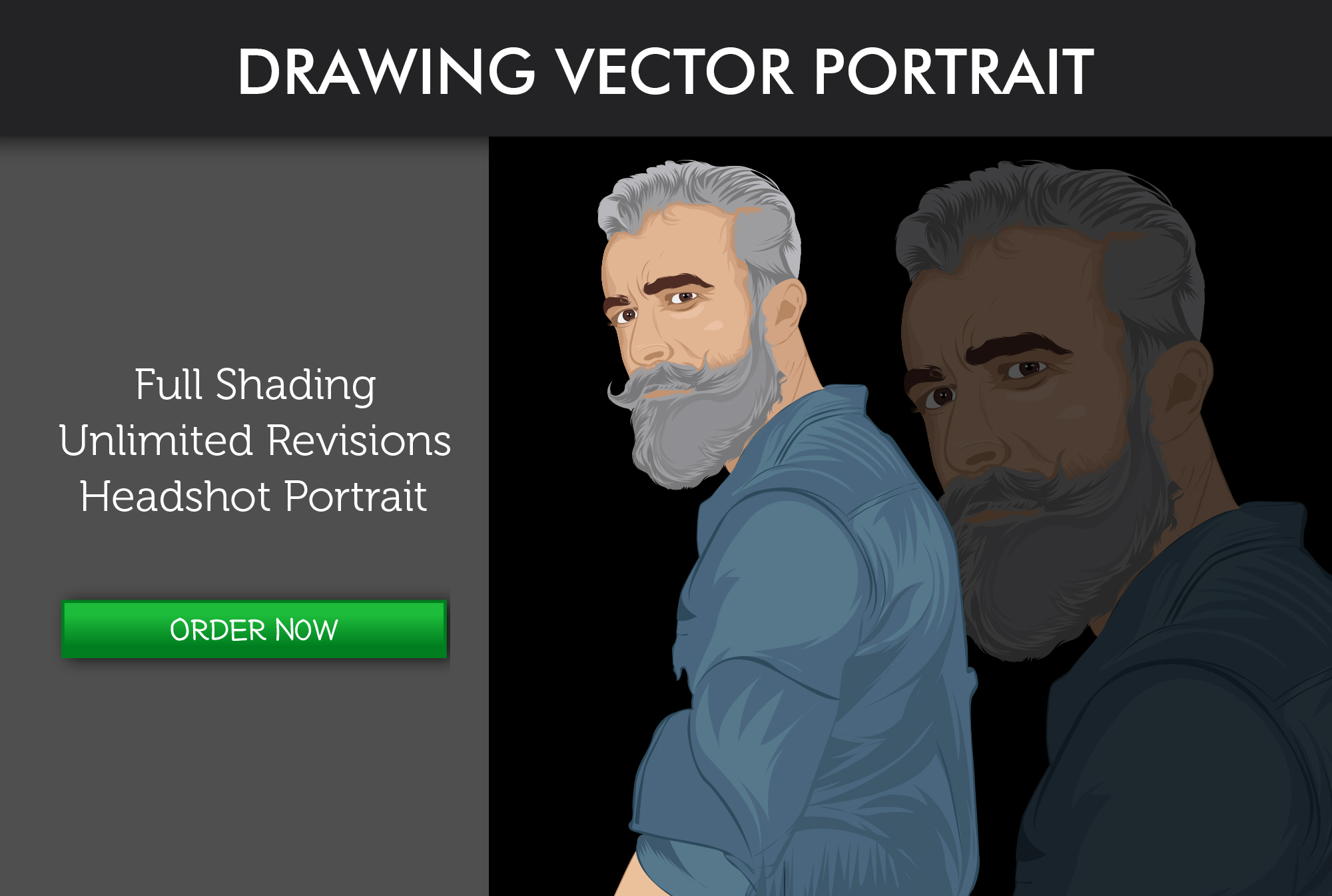 draw your photo in vector cartoon portrait style