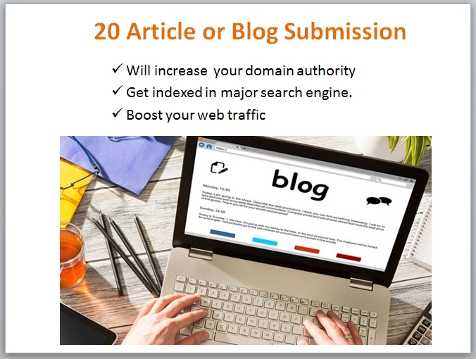 do 20 blog or article submission manually