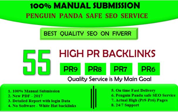 Manually Create 55 High pr Backlinks For SEO RANK Boosting