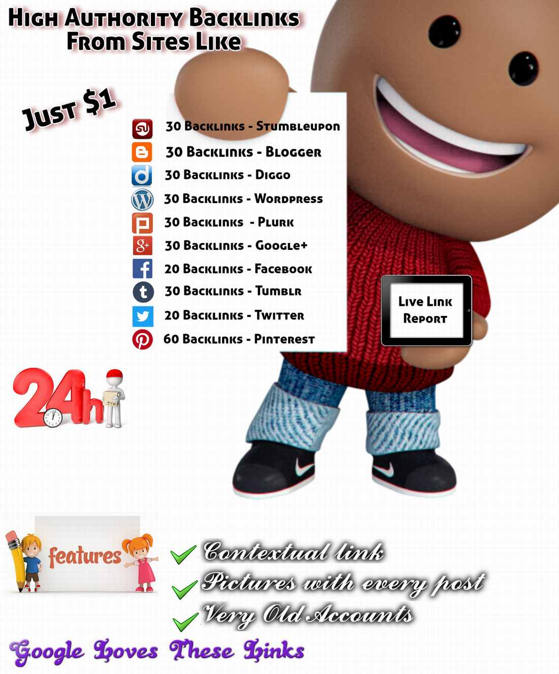 200+ Dofollow Backlinks From PR9-7 Top 10 Social networking sites 2Year Established Old Accounts