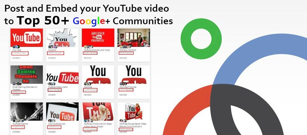 Post + Embed your YouTube video to Top 50 Google+ Communities