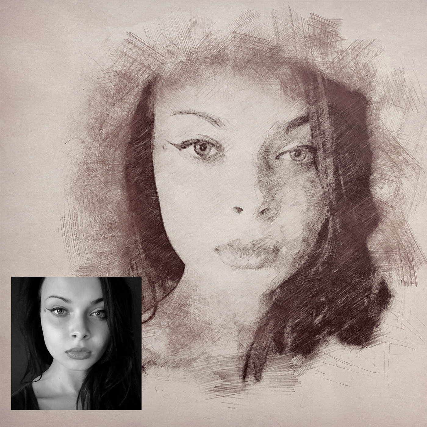 Sketch drawing after any photo