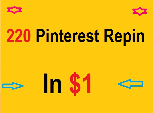 Provide you a pinterest  repin up to my over 200  PINTEREST for / $1