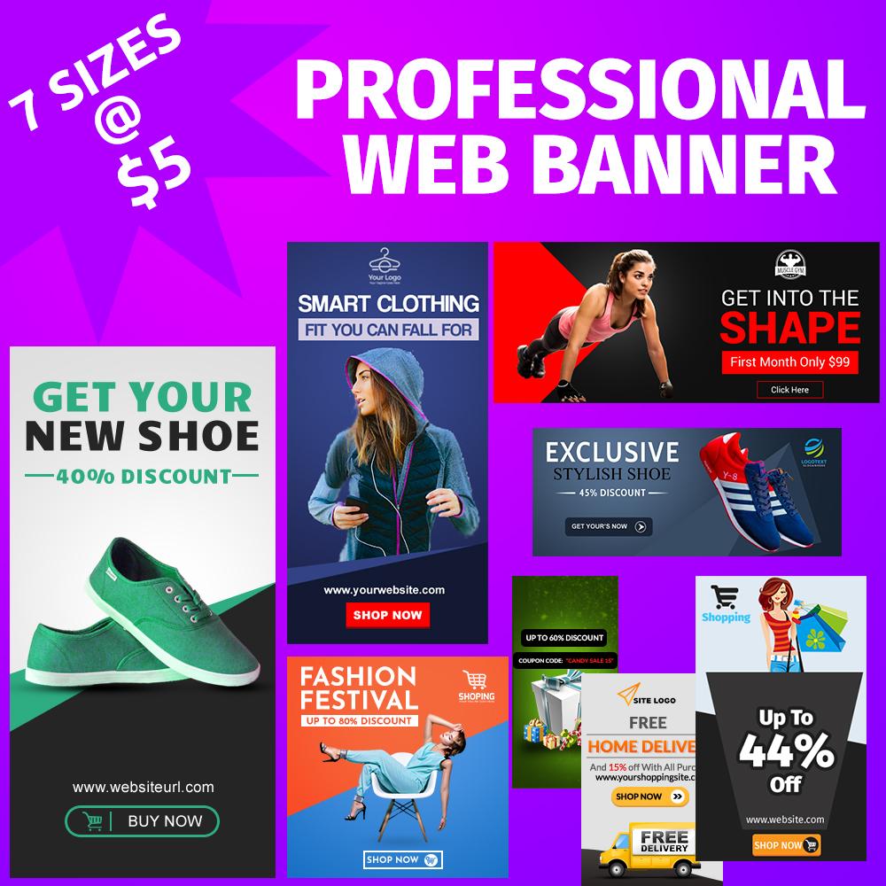 Make 7 Sizes Adword Optimized Web Banner