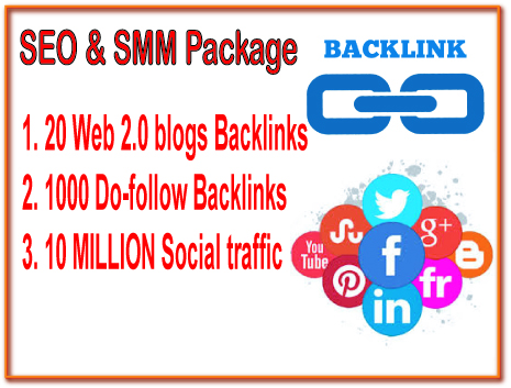 SEO & SMM Package - 20 Web 2.0 blogs backlinks -1000 Do-follow backlinks- Promote 10 Million Social People