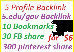 10 Profile backlink with edu/gov+10 Bookmarks+300 pinterst share+10social media share