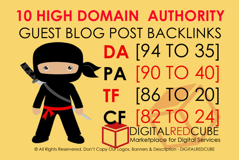 Write And Publish Guest Post On 10 HQ Blogs Da50 To Da100