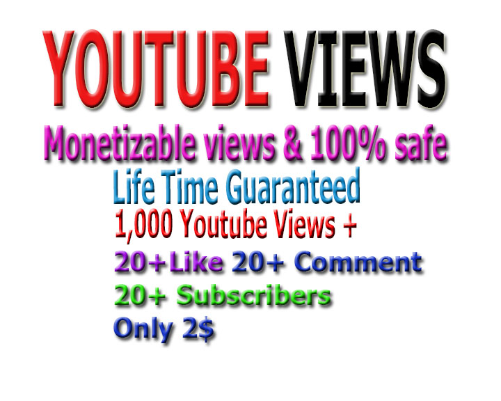 Promotion monetizable Guaranteed 1,000 vi-ews, 10 li-kes +10 comments and 10 subs-cribers to your Y.o.u.tube video