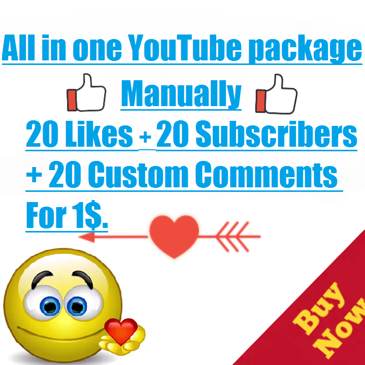 Safe & Manually 20 Likes+20 Subscribers+20 Custom Comments within 12--24 hours