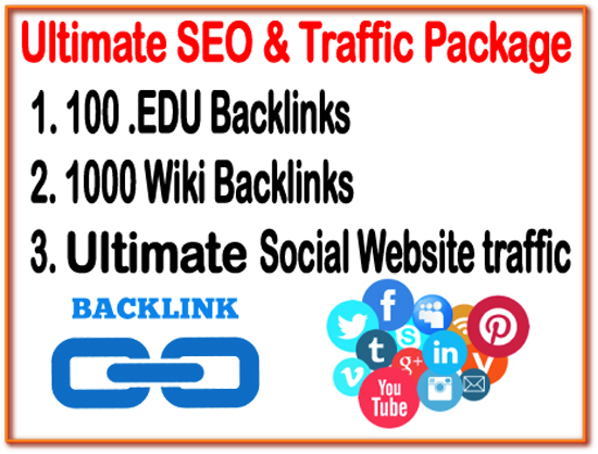 Ultimate SEO & Traffic Package- 100. EDU backlinks -1000 Wiki backlinks- Unlimited Social website Traffic