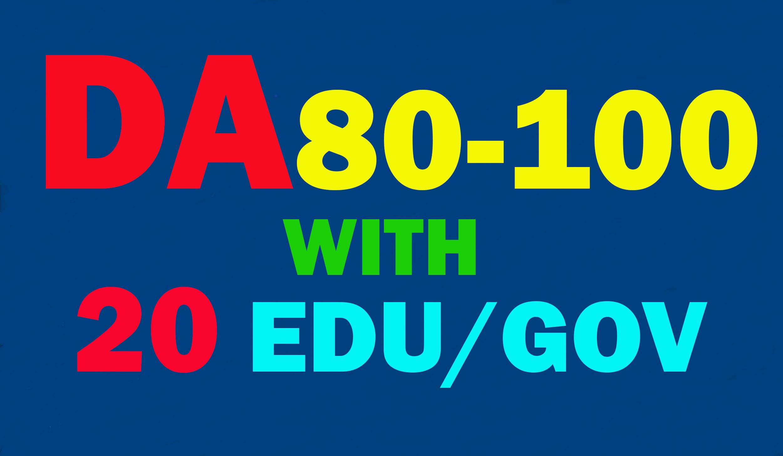 Create 60 Backlinks Da 80 To 100, (40 links), With 20 Edu-Gov.average DA 40-100 20 links