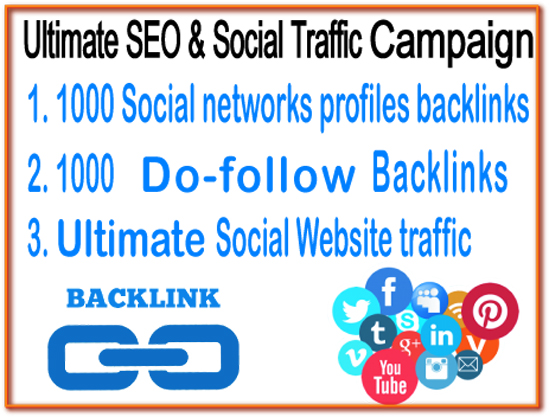 Ultimate SEO & Social Traffic Campaign - 1000 Social networks Profiles Backlinks- 1000 Do Follow Backlinks - Unlimited Social Website Traffic