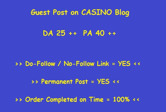 Guest Post on High-Quality CASINO blog (writing + posting)