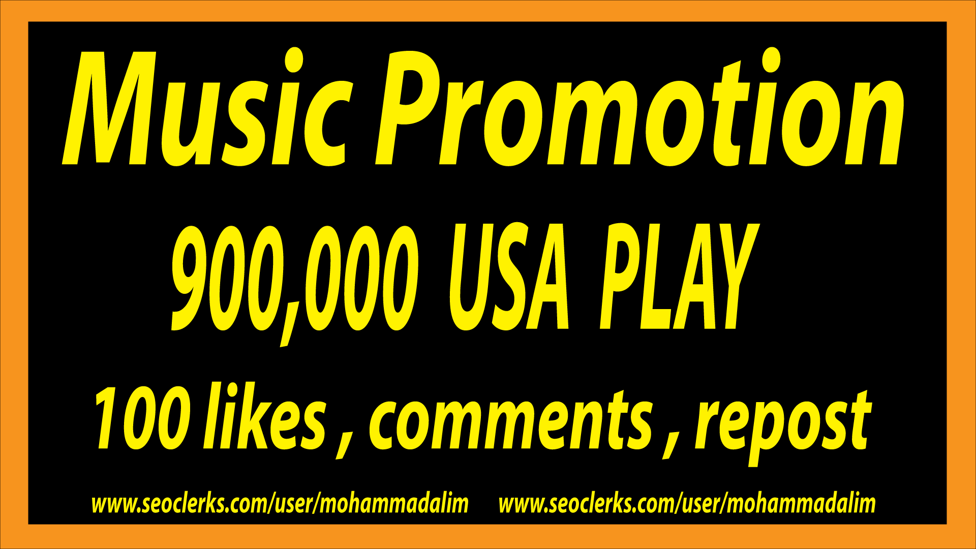 900,000 P'lays with 100 c'omments 100 l'ikes 100 repost  for a great music Promotion