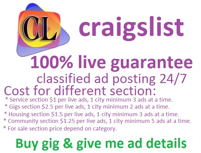 I will do Craigslist ad posting for you