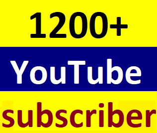 1200 To 1500 You'tube channel subscriber non drop within 12-24 hour complete