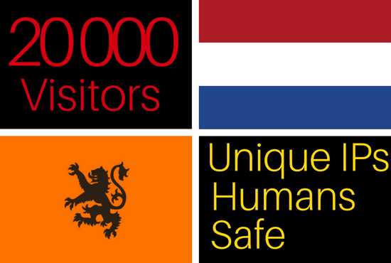 drive 20k visitors from netherlands  to your website, Dutch traffic