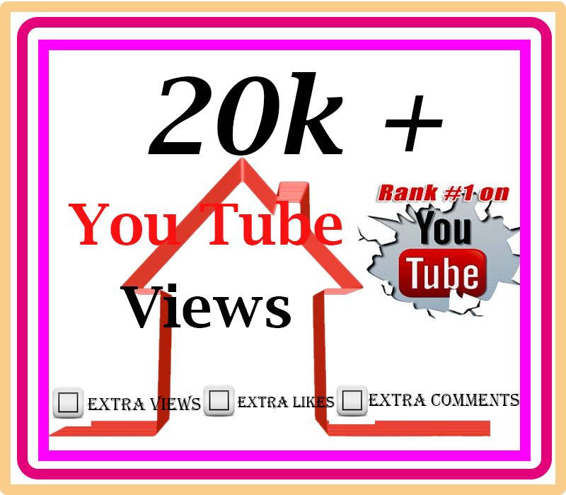 High Quality 20000 or 20,000 and 20k YouTube Views 50 like and Comments free with Fast work.